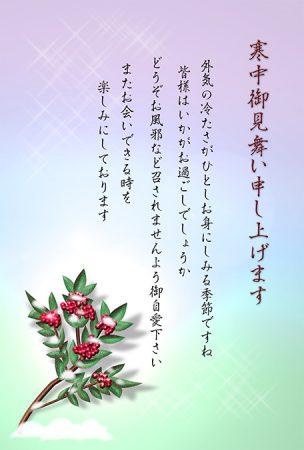 寒中見舞いデザイン・南天・カラー