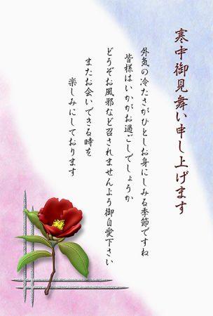 寒中見舞いデザイン・寒椿・カラー