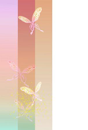 年賀状の背景イラスト|透かし蝶1