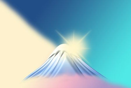 年賀状の背景イラスト 富士山の初日の出2