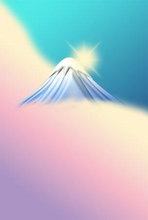 年賀状の背景イラスト 富士山の初日の出1