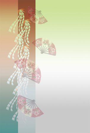 年賀状の背景イラスト 藤の花と舞扇2