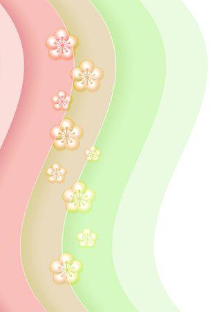 年賀状の背景イラスト|梅の花と波模様2