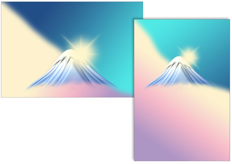 富士山と初日の出の背景のイラスト