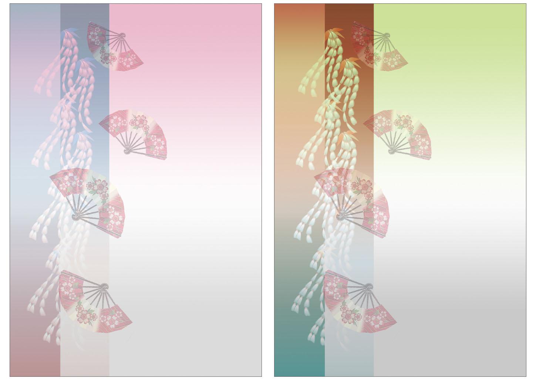 和風・藤の花と扇の背景のイラスト