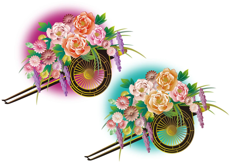 雅な和風の花車のイラスト