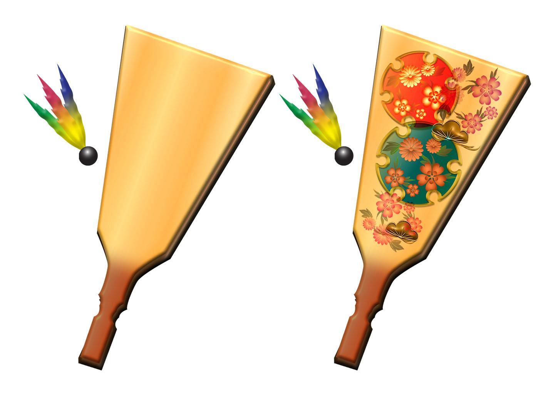 シンプルな羽子板と羽根のイラスト