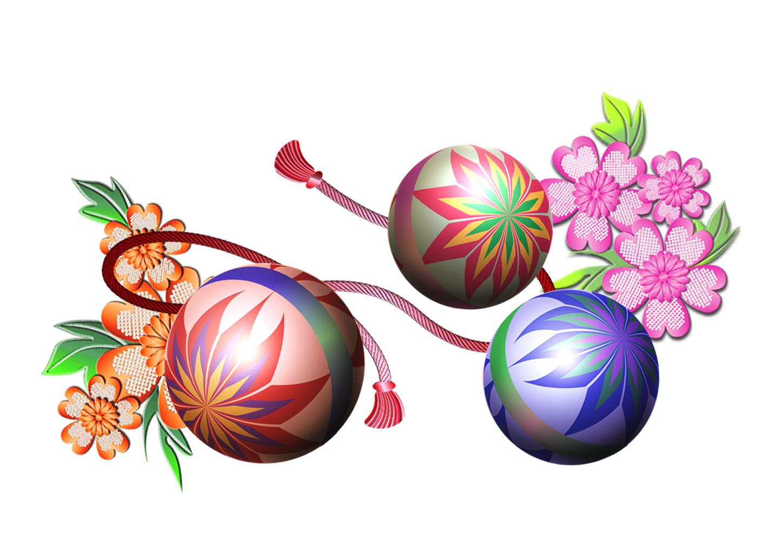 花と手毬(てまり)の年賀状イラスト