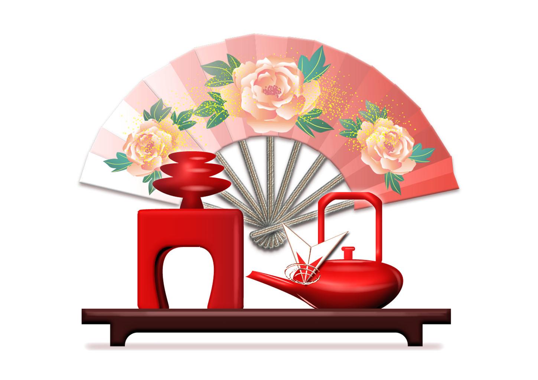 元旦のお屠蘇(とそ)飾りと扇のイラスト