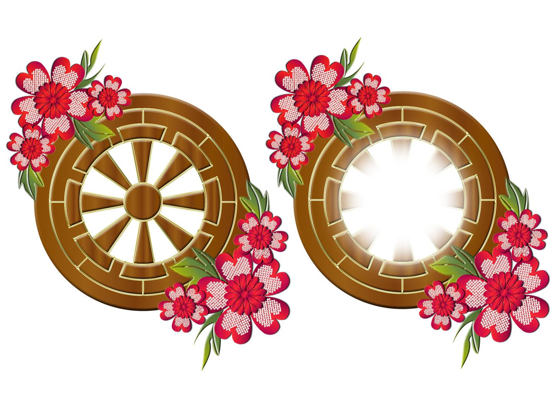 和の源氏車紋様と花のプレートのイラスト