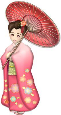 年賀状イラスト|赤い和傘と振袖