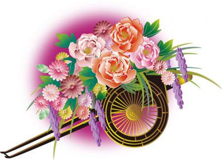 年賀状イラスト|雅な和風の花車1