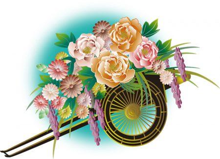 年賀状イラスト|雅な和風の花車2