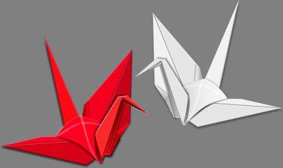 年賀状イラスト|紅白の折り鶴