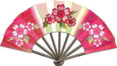 花の絵の付いたローズ色の扇のイラスト