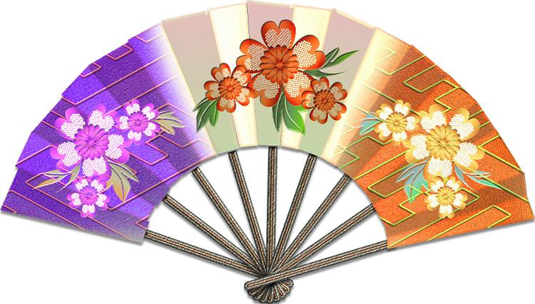 花の絵の正月飾りの扇・紫橙のイラスト