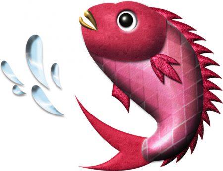 年賀状イラスト|水跳ね鯛