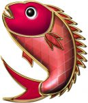 年賀状イラスト|金の縁取りをした鯛
