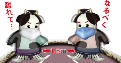 マスクと医療用ガウンを付けてお相撲