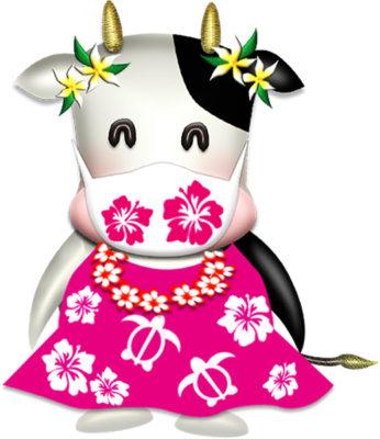花柄マスクのハワイアン牛イラスト|illust-117