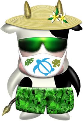 ホヌ柄マスクのリゾート牛イラスト|illust-118