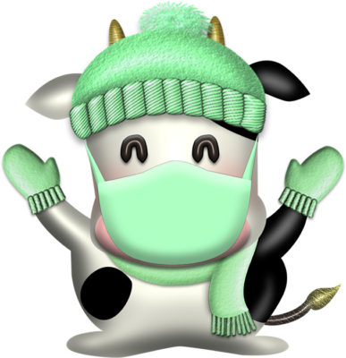 マフラーと同じ色のマスクした牛のイラスト|illust-112