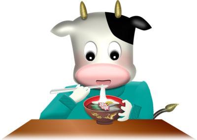 お雑煮を食べる牛のイラスト