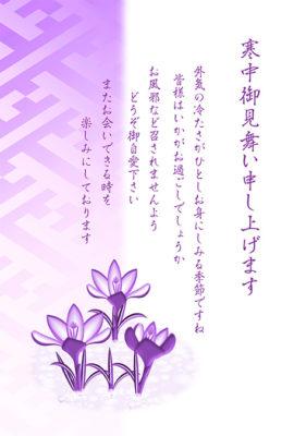 寒中見舞いデザイン|クロッカスの花・オーバレイ
