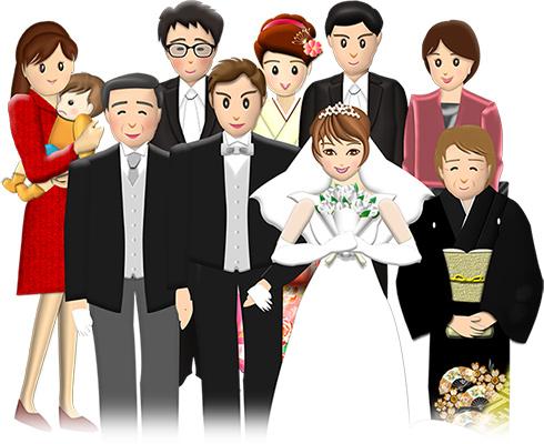 結婚報告の年賀状に使う結婚式の集合写真イメージ