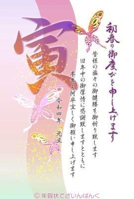 シックな蝶の舞と寅の文字の和風デザイン|寅2022イラスト年賀状
