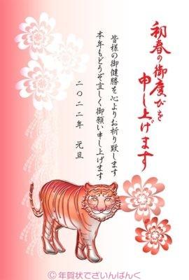 赤い虎と花の紅白二色デザイン|寅年の年賀状