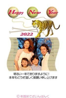 虎と毛糸玉happy new yearのフォトフレーム