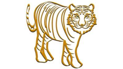 リアルな虎の線画のイラスト