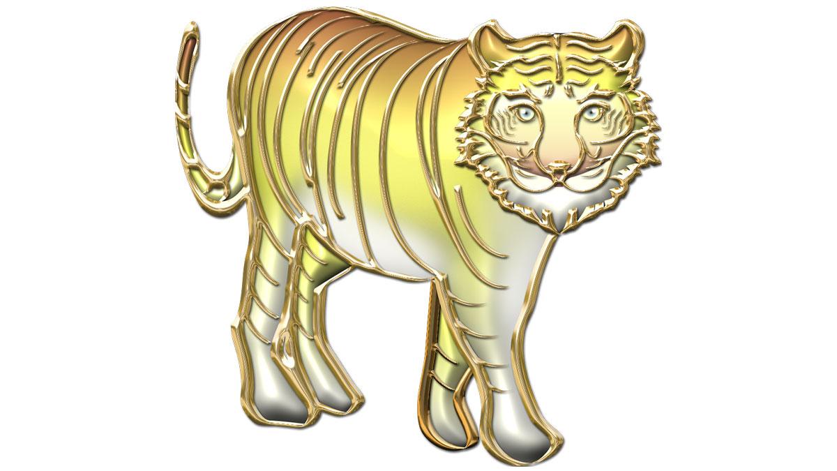 金色メタリックな虎のイラスト