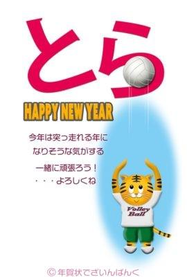 可愛い虎のバレーボール・トス 寅年の年賀状