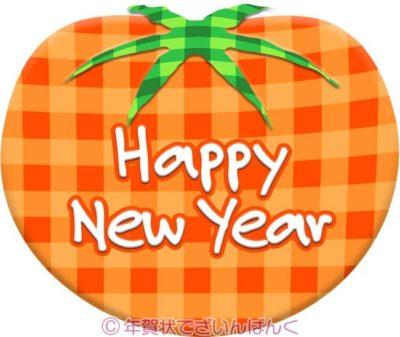 チェック柄トマトにhappy new yearの年賀状イラスト